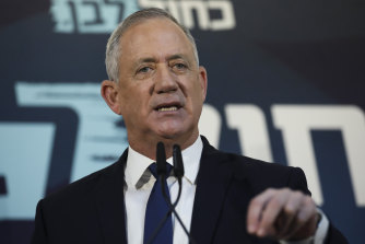 Blue and White party leader Benny Gantz talks makes his case for running the Israel government in Tel Aviv on Saturday.