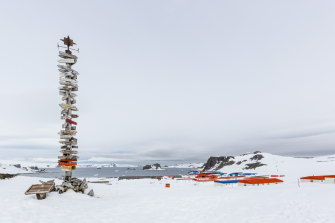 A signpost at one of Antarctica's 76 research stations: there are 40 year-round and 36 in summer. They are ostensibly there for research but also to tacitly shore up territorial claims or ambitions.