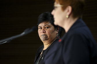 NZ Minister of Foreign Affairs Nanaia Mahuta (left) looks on as Australian Foreign Minister Marise Payne speaks to media during a press conference in Wellington.