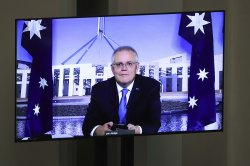 Prime Minister Scott Morrison seen via video conference during Question Time.