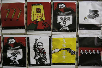 Copies of Badiucao's political artworks displayed at a bookstore after the cancellation of his exhibition in Hong Kong in 2018.