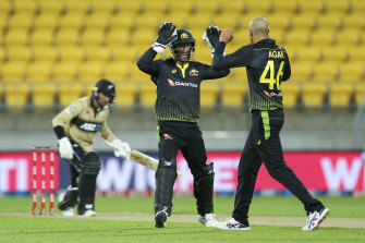 Ashton Agar celebrates one of his six wickets with Matthew Wade.
