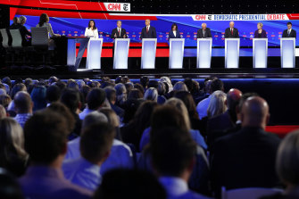 The Democratic presidential contenders line up for the debate, hosted by CNN and the New York Times.
