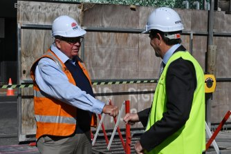 NSW Building Commissioner David Chandler and Better Regulation Minister Kevin Anderson on Monday.