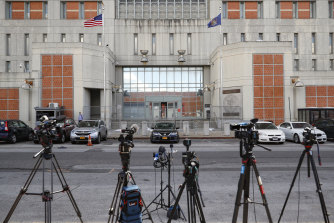 Press cameras outside the Metropolitan Detention Centre, Brooklyn, where Ghislaine Maxwell is held, in July.