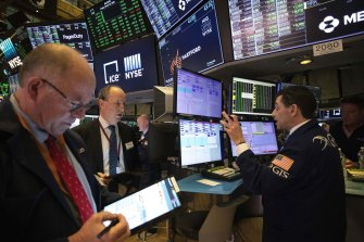 The gains came on yet another day of turbulent trading on Wall Street.