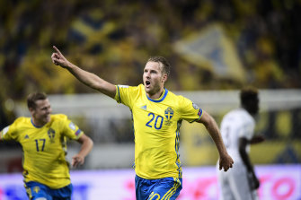 Toivonen celebrates a goal at the 2018 World Cup.