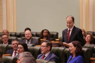 Stretton MP Duncan Pegg announces his resignation in State Parliament.