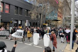 Protesters gather in Lonsdale Street, Melbourne last weekend.