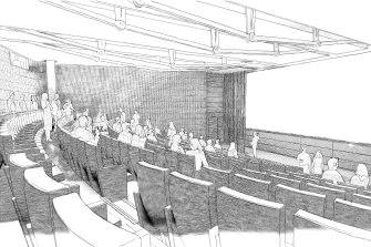 An artist's impression of the new auditorium to be built under the Mitchell Reading Room of Australia's oldest library.
