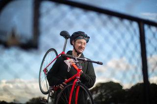 Cyclist Liam Vaughan, rider of the 'Tour de Reservoir'.