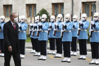 Turkish President Recep Tayyip Erdogan inspects a military honour guard in Ankara, Turkey, last week.