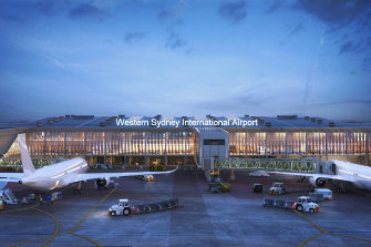 One of the concept designs for the new terminal at the $5.3 billion airport.