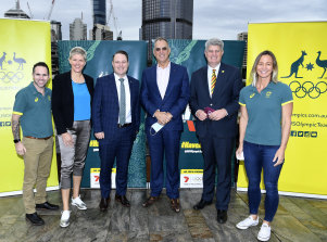 Australian Olympic boxer Brad Hore, Olympic beach volleyball gold medallist Natalie Cook, lord mayor Adrian Schrinner, chair Australian Olympic Team Appeal Committee Qld Mark Stockwell, Qld Minister for Sport Stirling Hinchcliffe and Olympic swimmer Brooke Hanson in July.