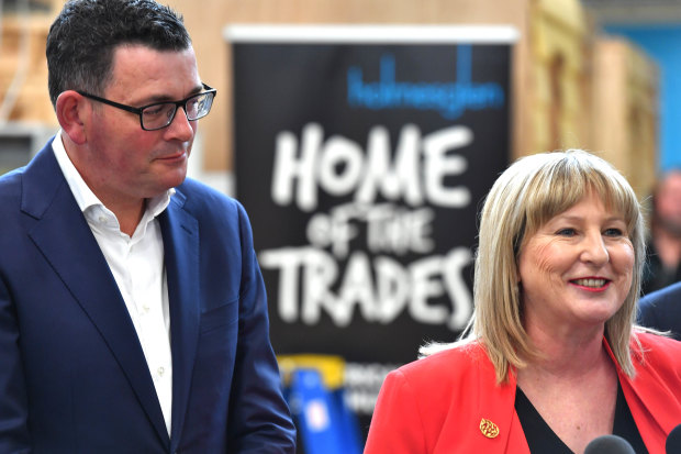 Minister for Training and Skills Gayle Tierney with Premier Daniel Andrews at Holmesglen TAFE in 2018. The free TAFE initiative will be expanded.