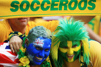 Australian fans at the Australia v Italy in Kaiserslautern, Germany.