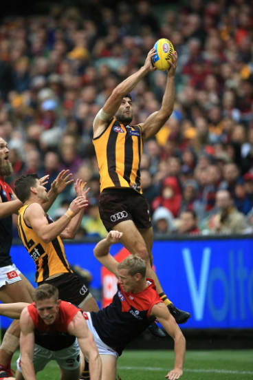 Handy option: Hawthorn's David Mirra in action against Melbourne at the MCG in April, 2018.