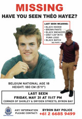 A poster of missing backpacker Theo Hayez.