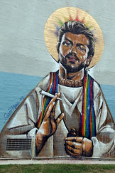Scott Marsh's George Michael mural was painted on private property.