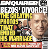 The front page of the January 28, 2019, edition of the National Enquirer featuring a story about Amazon founder and CEO Jeff Bezos' divorce.