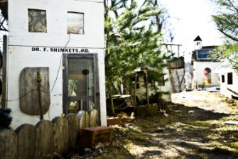 The handmade village of Marwencol on the side of Mark Hogancamp's home in Kingston, New York.