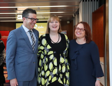 Rose Cox, centre, with Kookaburra Kids chief executive Chris Giles (left) and Medibank wellbeing and community general manager Karen Oldaker (right) in Melbourne on Tuesday.