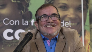 Former guerilla leader, Rodrigo Londono, smiles during a press conference last month.
