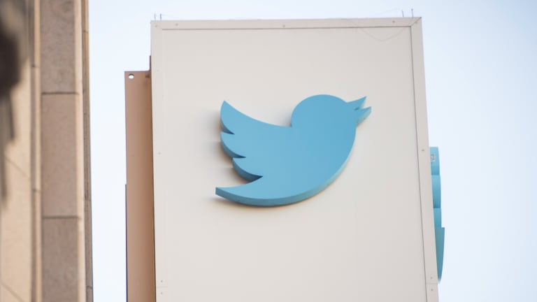 The Twitter Inc. logo is displayed outside the company\'s headquarters in San Francisco.