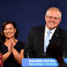 Prime Minister Scott Morrison with wife Jenny and children Lily, left, and Abbey, as he claimed victory.