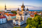 aerial view of Alexander Nevsky cathedral and St Mary's Cathedral at sunset in Tallinn, Estonia satnov16cover