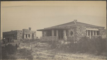 Under construction at  Castlecrag, the Sir William Elliott Johnson house with the Grant House in the background, circa 1922.