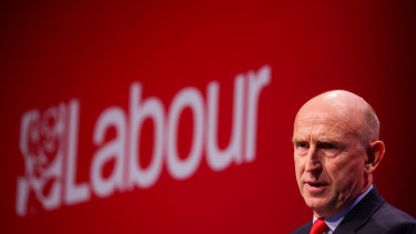 John Healey, British shadow defence secretary, during his speech at the annual Labour Party conference in Brighton.
