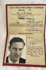 Ron Ford, press pass of 1959.