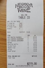 Receipt for lunch at Neighbourhood Wine.