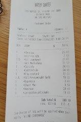 Receipt for lunch at Napier Quarter.