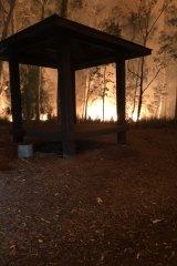 Fire near one of the wedding structures at Bewong Retreat earlier this month.