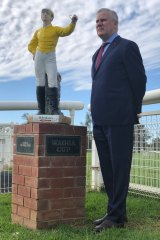 Racing enthusiast: Deputy Prime Minister Michael McCormack at Murrumbidgee Turf Club in Wagga Wagga, in his electorate of Riverina.