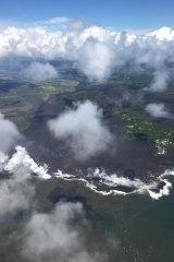 An aerial view of Hawaii's Big Island as Kilauea volcano erupts.