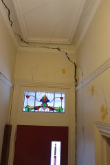 Cracks in Dr Angela Livingstone's home's interior entrance, hallway and front and middle bedrooms have been getting wider each year.