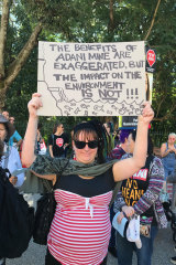 Protester Jackie Child believes the economic benefits of Adani's Carmichael Mine are exaggerated.