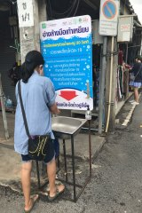 A handwashing station at the Chatuchak market.