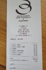 Receipt for lunch at Claypots, St Kilda.