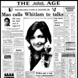 """Mao calls Whitlam to talks"": The front page of The Age on November 3, 1973."