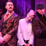 Kate Mulvany with her husband Hamish Michael (left) and John Gaden who starred in the Ensemble Theatre's production of  her play 'The Rasputin Affair' in 2017.