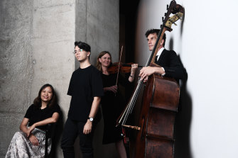 Composers Liza Lim and Connor d'Netto with SSO violist Rosemary Curtin and principal double bass Kees Boersma.