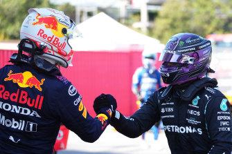 Max Verstappen congratulates Hamilton.