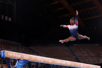 Simone Biles was back in action on the beam.