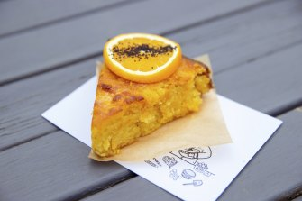 """Orange cake for afters: the leader is not a foodie but cooks at home to """"feed three hungry boys""""."""