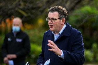Premier Daniel Andrews announcing changes to borer bubble arrangements on Tuesday.