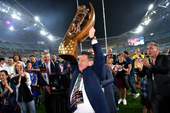 Nick Politis celebrates the 2019 grand final win against the Raiders.